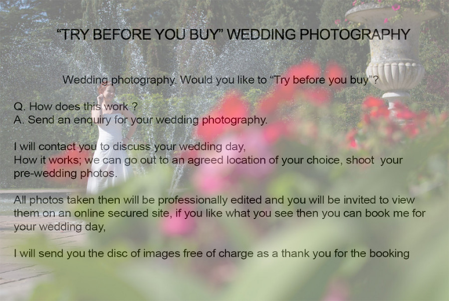 "wedding photography ""try before you buy"""