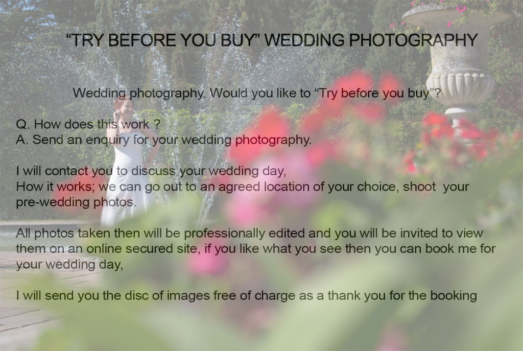 """wedding photography """"try before you buy"""""""