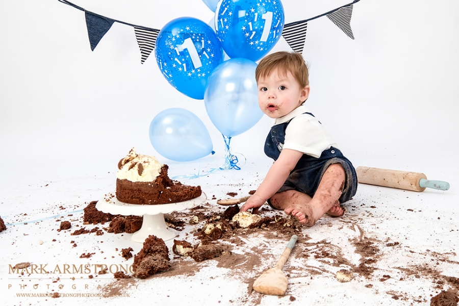 reece first birthday cake smash